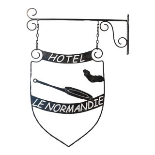 Antique French Iron Trade Sign - Hotel Le Normandie For Sale