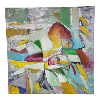 Abstract Modern Oil Painting on Board by Frid For Sale