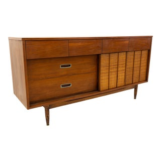 Mid Century Modern Mainline by Hooker Reversible Door Cane and Walnut Lowboy For Sale