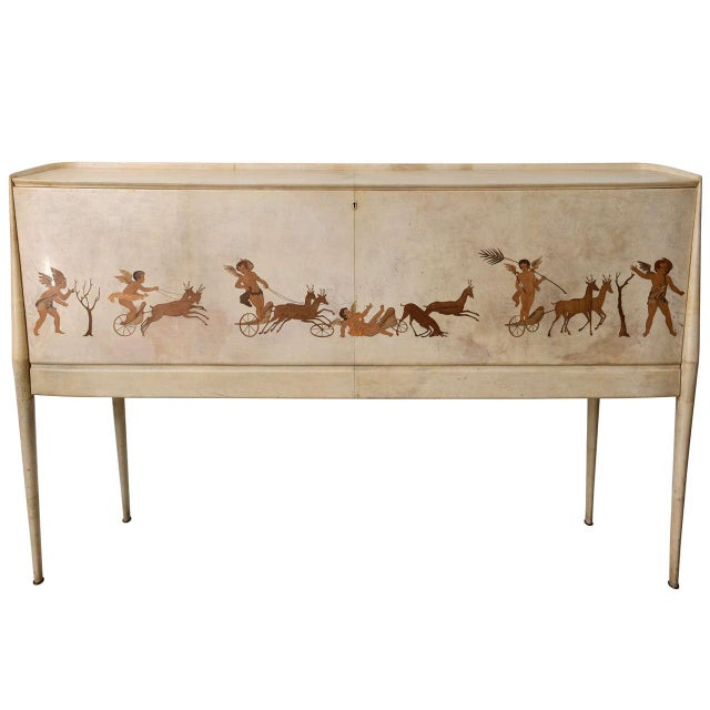 Italian Modern Parchment and Inlaid Mixed Wood Drop Front Desk, Paolo Buffa For Sale - Image 9 of 9