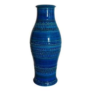 Late 20th Century Vintage Italian Blue Green Glazed Art Pottery Vase For Sale