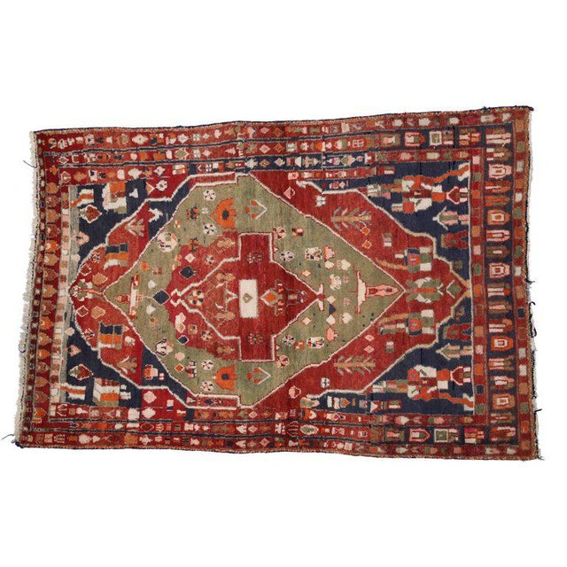 Textile Vintage Persian Bakhtiari Rug with Modern Tribal Style For Sale - Image 7 of 8