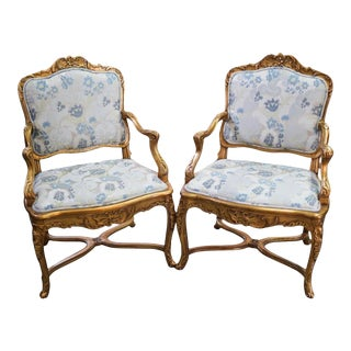 Rococo Style Armchairs- a Pair For Sale