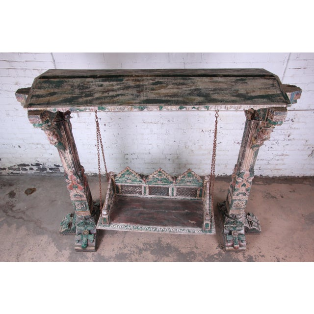 18th Century Ornate Carved Indian Jhula Bench Swing For Sale - Image 12 of 13