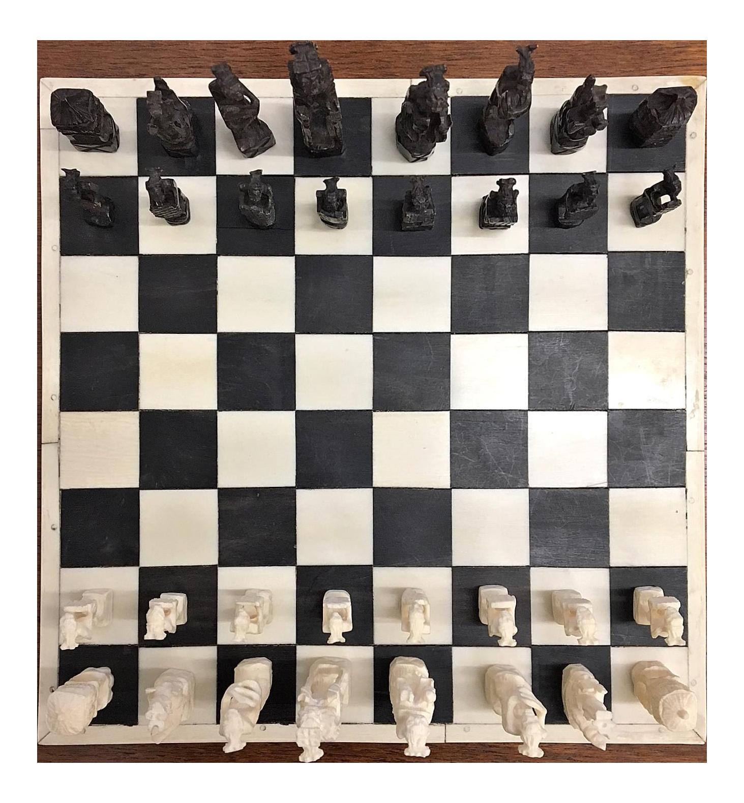 Incredible 1930 Belgian Congo Ivory Chess Set DECASO