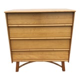 Image of 1950s Mid-Century Modern Heywood-Wakefield Maple and Faux Bamboo Tall Chest of Drawers For Sale