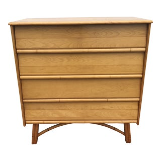1950s Mid-Century Modern Heywood-Wakefield Maple and Faux Bamboo Tall Chest of Drawers For Sale