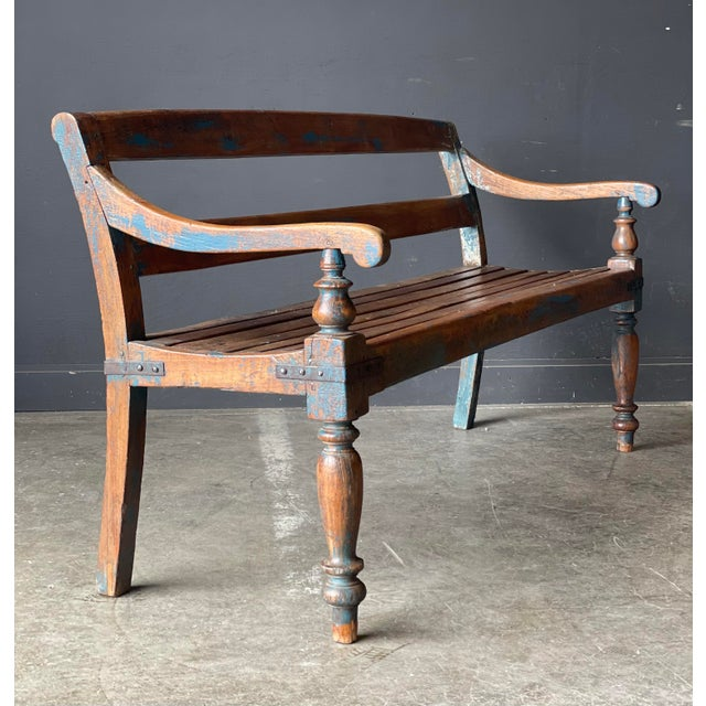 Traditional Primitive Wood Bench For Sale - Image 3 of 10