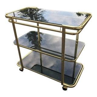Brass & Smoked Glass Bar Cart