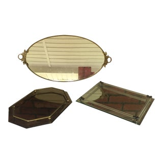 Vintage Vanity Brass & Lucite Mirrors - Set of 3