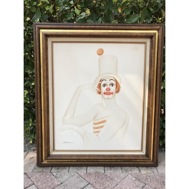 ON SALE! $225! I love the expression on this guy.... Fabulous 20th Century original painting of a tangerine clown. Signed...