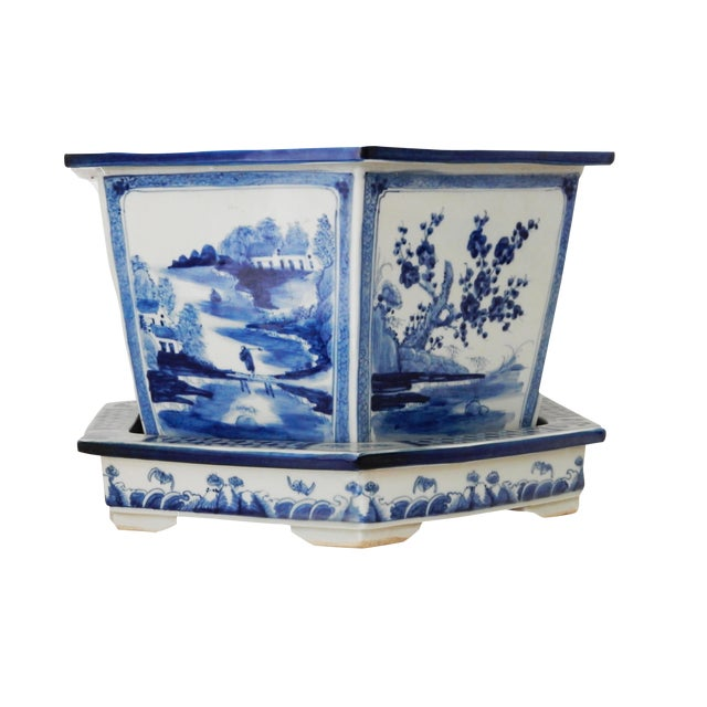 Blue & White Hexagonal Jardiniere - Image 1 of 8
