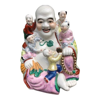 Vintage Large Colorful Statue of Jizo Sitting With Children Asian Folklore Character Revered for Kindness For Sale
