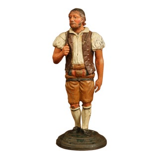 Colorful 19th Century French Painted Iron Tole Figurine of a Man