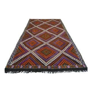 Turkish Anatolia Kilim Embroidery Rug-6′ × 9′7″ For Sale