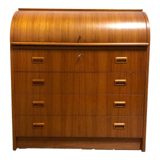 Mid Century Danish Modern Roll Top Desk in Teak For Sale