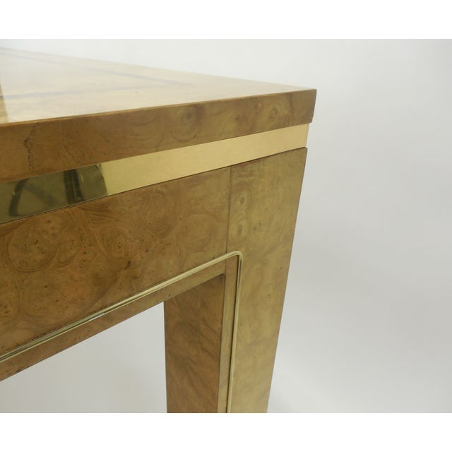 Mastercraft Burlwood & Brass Parsons Dining Table For Sale - Image 5 of 7