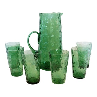 Vintage Green Rippled Pitcher and Glasses Set - 7 Pc.