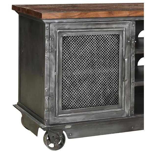 Distressed gunmetal iron frame media cabinet on casters with reclaimed wood top. Each is unique in exact finish, wood...