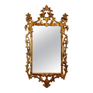 Chinese Chippendale Style Giltwood and Gesso Wall or Console Mirror For Sale