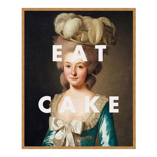 Eat Cake by Lara Fowler in Gold Framed Paper, Small Art Print For Sale