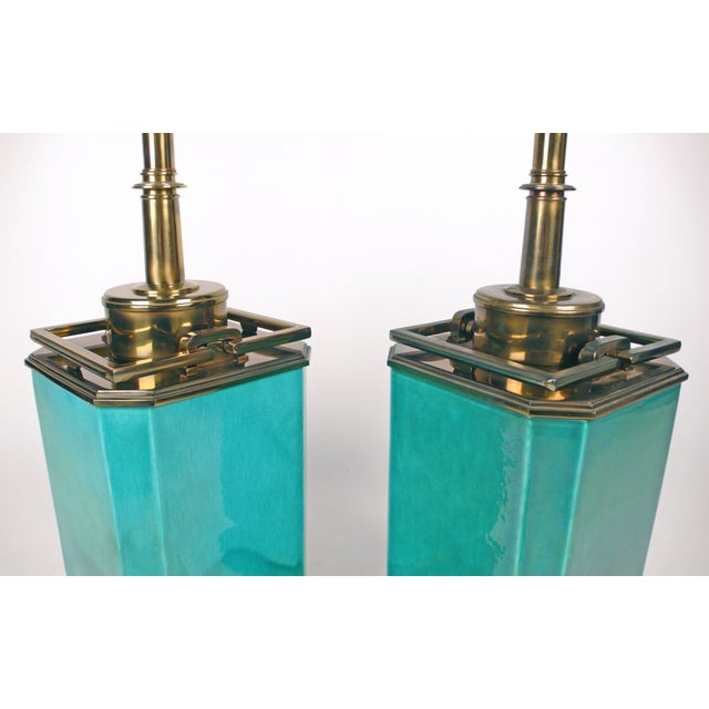 Early 20th Century Jade Blue Ceramic Stiffel Lamps For Sale - Image 5 of 7