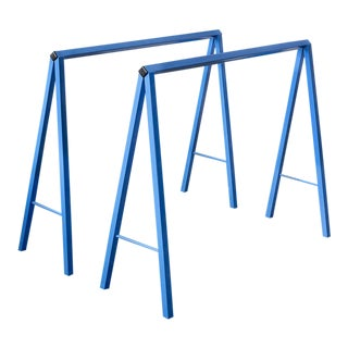 Vintage A-Frame Table Legs Refinished in Blue