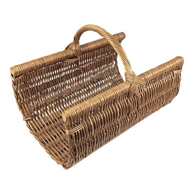 Vintage Wicker Log Basket & Magazine Rack For Sale