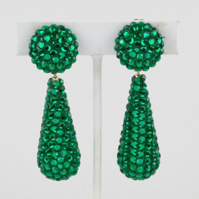 Resin Richard Kerr Dangle Clip on Earrings Emerald Green Crystal Rhinestones Paved For Sale - Image 7 of 7