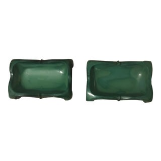 1930's Green Malachite Glass Ashtrays - a Pair