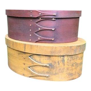 Folk Art/Americana Oval Lehay Shaker Boxes - a Pair For Sale