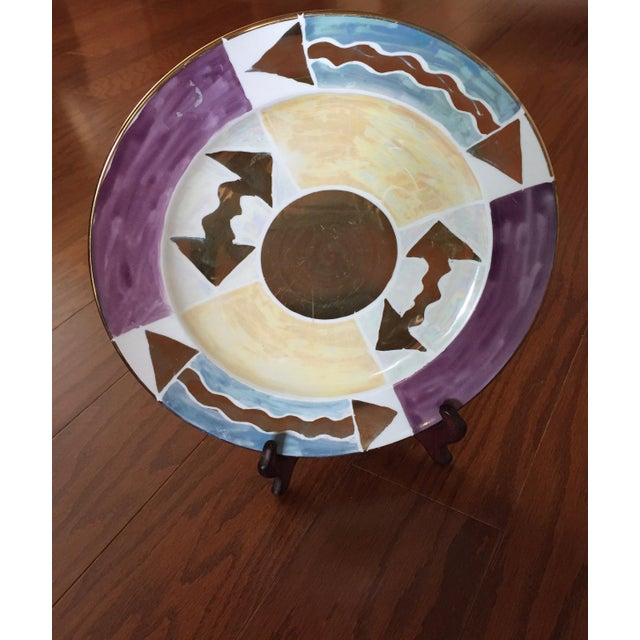 Exquisite Platters or Chargers by Rob Turner of England. Gold leaf edge large chargers. All 7 hand painted. Robs pieces...