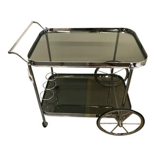 Vintage Mid Century Modern Chrome and Glass Bar Cart For Sale