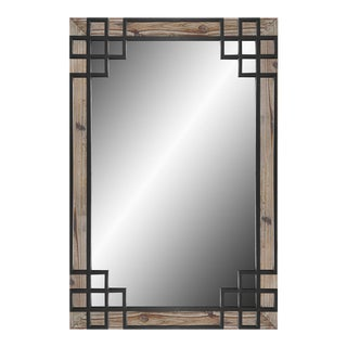 Solid Wood Frame, Black Iron Overlay Wall Mirror For Sale