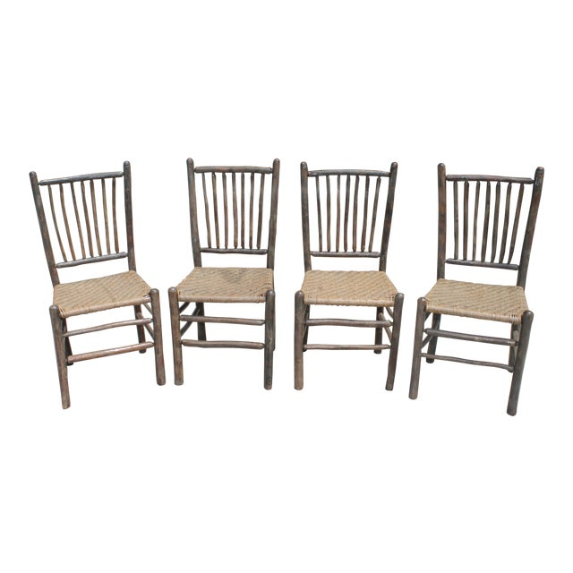 Rustic Hickory Dining Chairs - Set of 4 - Image 1 of 10