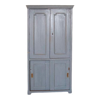 Antique Original Blue Painted Narrow Storage Cabinet With Interior Shelving For Sale