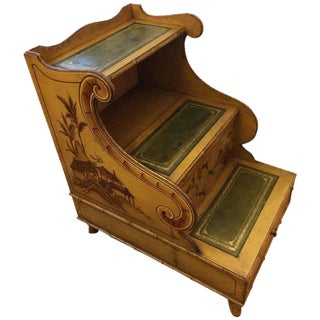 Hand-Painted Antique Chinoiserie Style Library Steps Side Table For Sale