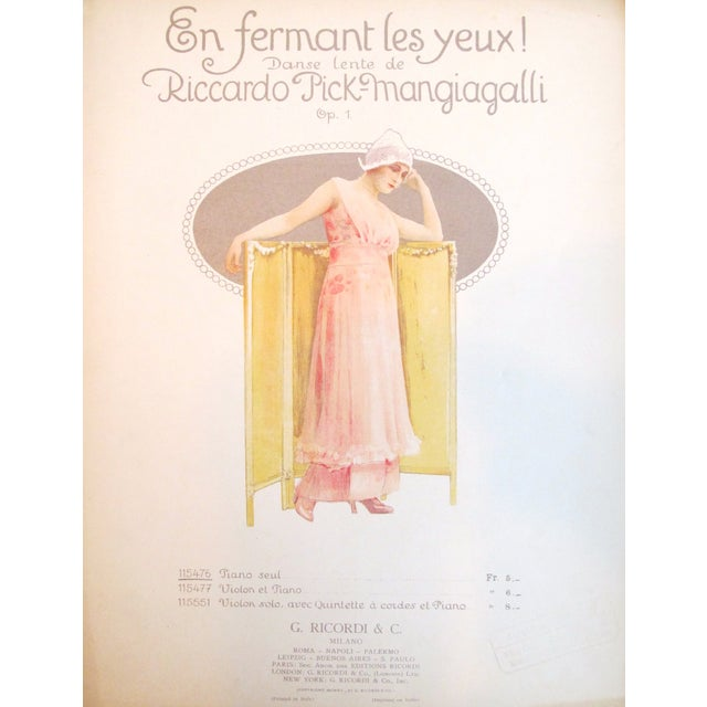 1910 Italian Music Sheet en Fermant Les Yeux - Image 4 of 4