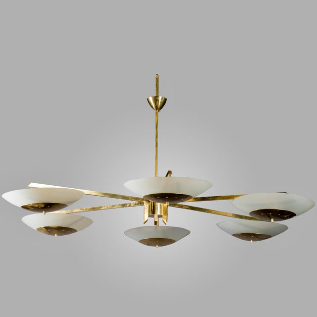 Monumental Italian Mid-Century Brass and White Glass Chandelier - Image 7 of 7