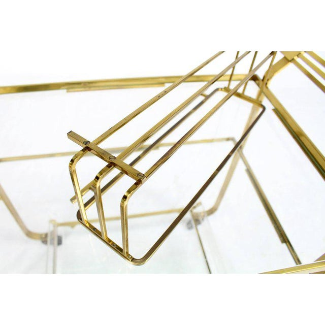 Solid Brass and Glass Mid-Century Modern Bar Cart For Sale In New York - Image 6 of 9