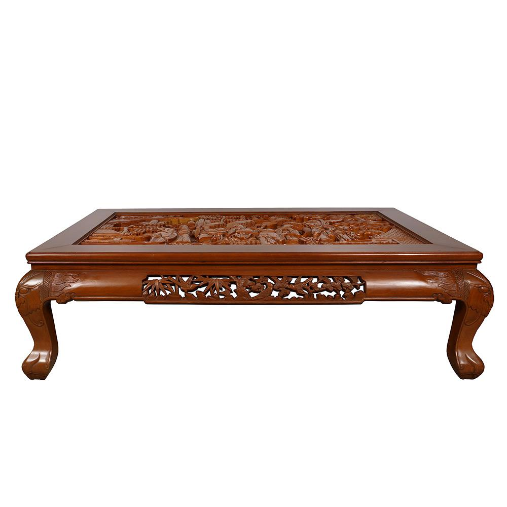 This Classic Solid Rosewood Coffee Table Is Laced With Hand Carved Floral  Birds Motif Along