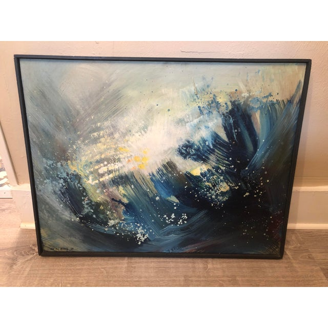 """1960s """"A Blue Painting"""" Abstract En-Yo Yang Painting, Framed For Sale - Image 11 of 11"""
