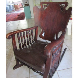Art Nouveau Carved Wood and Leather Rocking Chair Preview
