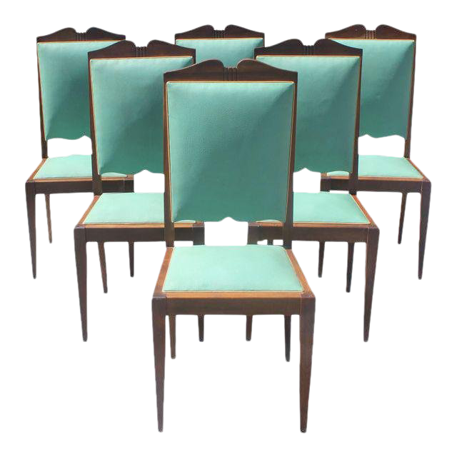 1940s French Art Deco Solid Mahogany By Jules Leleu Dining Chairs   Set Of 6