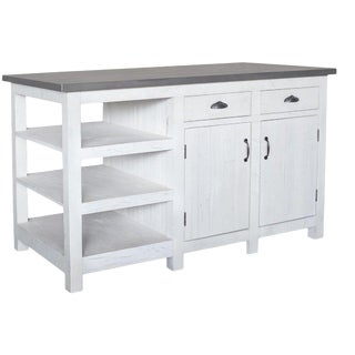 Crafters and Weavers Barlow Display Kitchen Island - Distressed White For Sale