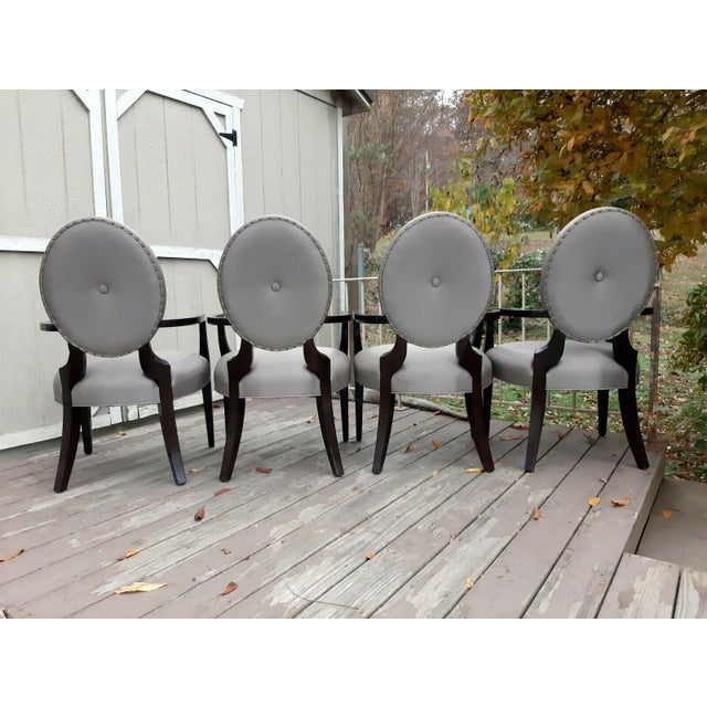 Early 21st Century Bernhardt Jet Set Center Button Tufting Arm Chairs - Set of 4 For Sale - Image 5 of 13