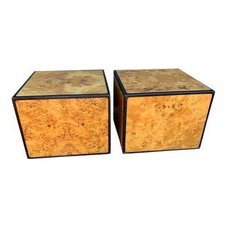 1970's Mid-Century Modern Burlwood Block End Tables - a Pair For Sale