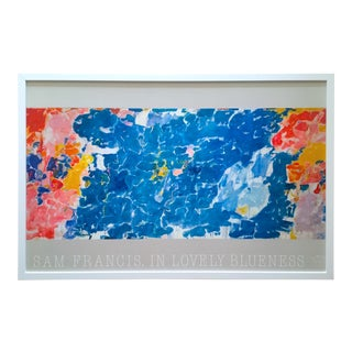"Sam Francis Rare Vintage 1985 Abstract Expressionist Lithograph Print Large Framed French Poster "" in Lovely Blueness "" 1955 For Sale"