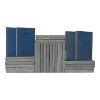 Mid 20th Century Weathered Denim Shakespeare Book Set - Set of 28 For Sale