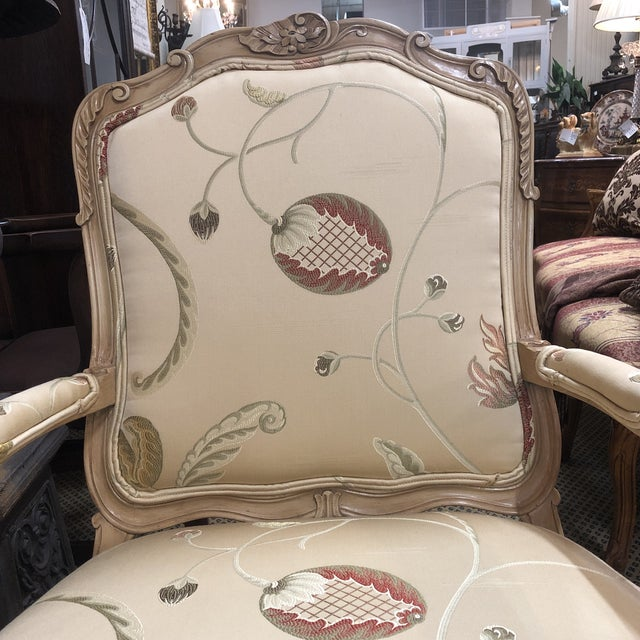 Tan French Louis XV Style Polychromed Faiteuils -A Pair For Sale - Image 8 of 10